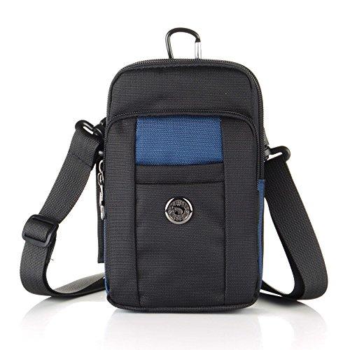 Essential Phone Belt Clip Waist Hip Pack Travel Messager Purse Crossbody Bag 3 Way Universal Water Resistant(Vertical-Dark Blue)
