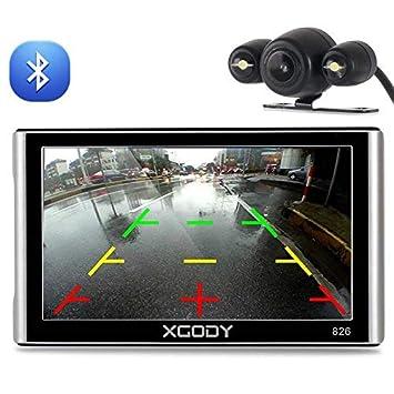Xgody 826BT - Navegador GPS para coche con 6 metros de cámara de seguridad de 7
