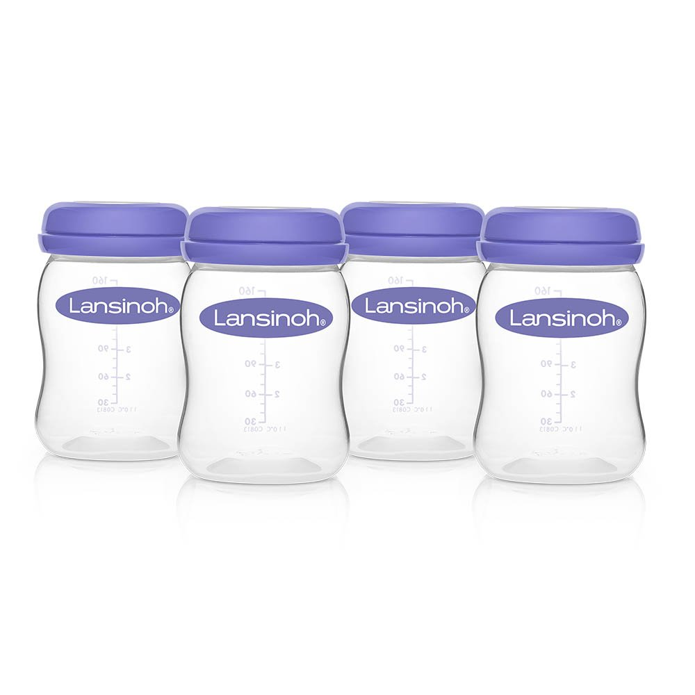 Lansinoh Breastmilk Storage Bottles, 4 Count (5 Ounce each), Dishwasher Safe, Compatible with any Lansinoh Pump and NaturalWave Nipple, BPA and BPS Free