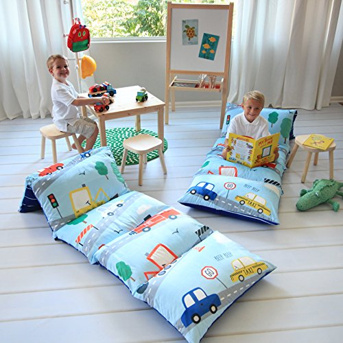 Butterfly Craze Kid's Floor Pillow Bed Cover - Use as Nap Mat, Portable Toddler Bed Alternative for Sleepovers, Travel, Napping, or as a Lounger for Reading, Playing. Cover Only! (Toy Story Sleeping Bag)