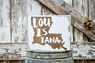 MINI Louisiana Rustic Wood Signs - Whitewash State Signs - Home State Decor - Personalized State Sign 6x7in