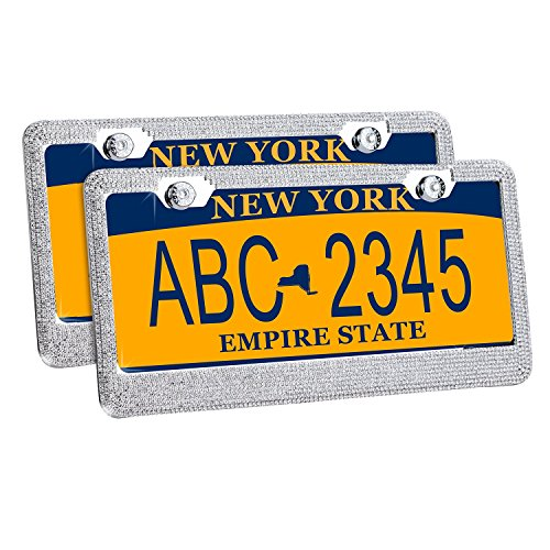 License Plate Frame Rhinestone, GEOTEL Rhinestone License Plate Frame Metal Chrome Diamond Bling Glitter Custom 9 Rows of Diamonds, 2Pcs