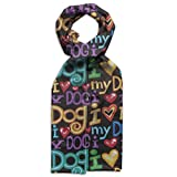 Colorful I Love My Dog Letter Young Gift Box Lightweight Warm Wrap Scarves