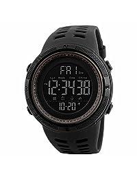 SKMEI Reloj para Hombre, Digital, Deportivo, Retroiluminación, Resistente al Agua, con Cronómetro, Alarma y Fecha, Dial Grande, Modelo 1251. Negro