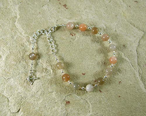 Artemis Prayer Bead Bracelet in Moonstone: Greek Goddess of the Wilderness, Wild Animals, Protector of Young Women and Girls