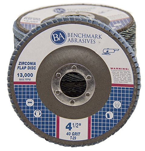 4.5'' x 7/8'' Premium Zirconia Flap Disc Grinding Wheel 40 Grit Type 29-10 Pack by Benchmark Abrasives