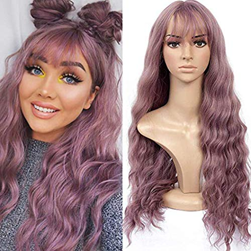 Purple Curly Wig Hair None Lace Front Wigs Synthetic Loose Curly Wigs Heavy Density Glueless Lace Wigs for Women Synthetic (a) -