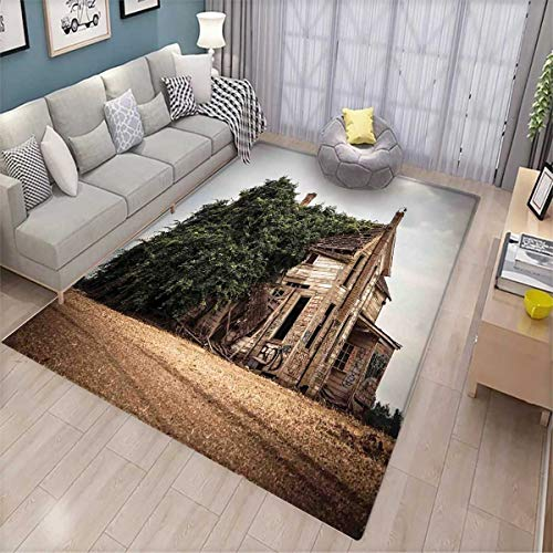 Rustic Girls Bedroom Rug Ancient and Historical House with Overgrown Oregon Ivy on Roof Field Nature Image Bath Mats for Floors Beige Green