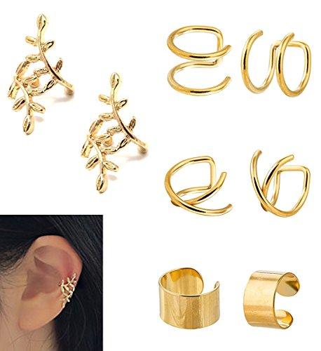 JININA Clip On Ear Cuffs Gold Leaf Wrap Earrings Fake Lip Cartilage Tragus Helix Earrings for Women Men