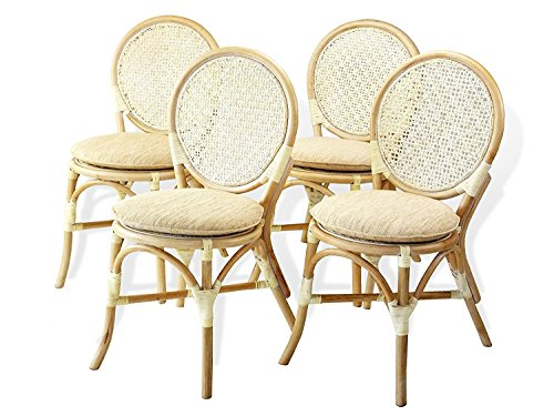 - Set of 4 Denver Dining Armless Accent Side Chair Handmade Rattan Wicker Furniture White Wash