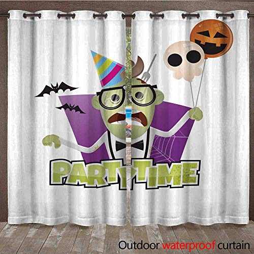 RenteriaDecor Outdoor Ultraviolet Protective Curtains Halloween Party Character W96 x L108 ()