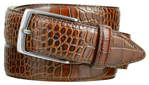 Italian Designer Brown Leather - Joseph Nickel Finish Buckle Italian Leather Alligator Dress Belt 1-3/8 Wide (Alligator Brown, 38)