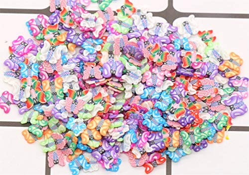 kakroz 200 Pieces Butterfly Polymer Clay Cane Slices Fimo Butterflies Slices for Slime Charms Supplies and Nail Art