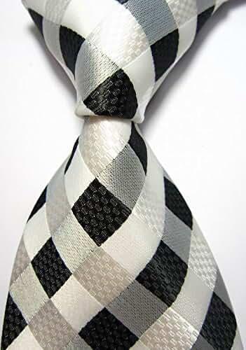 EXT Collectino 100% Silk Necktie, New Classic Checks White Black Tie JACQUARD WOVEN Men's Suits Ties