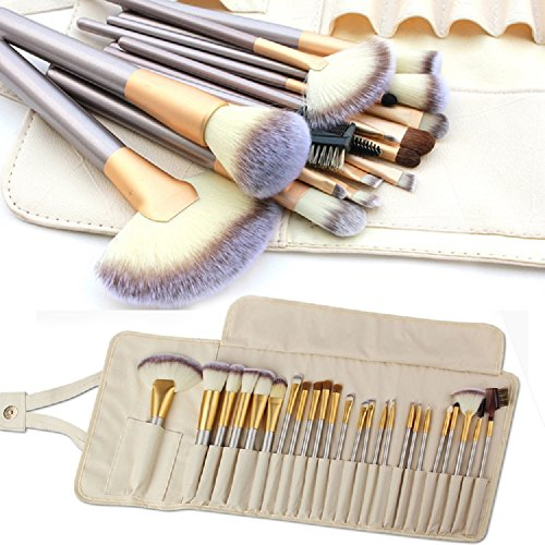 Make up Brushes, 24pcs Premium Cosmetic Makeup Brush Set for Foundation Blending Blush Concealer Eye Shadow, Cruelty-Free Synthetic Fiber Bristles, Travel Makeup bag Included, Champagne