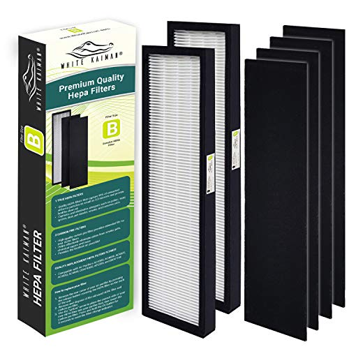 White Kaiman Air Purifier Filter Size B FLT4825 True HEPA w/Carbon Pre-Filters for Dust and Allergy Elimination Fits GermGuardian FLT 4825, AC4300, AP4800, CDAP4500, AP2200, BXAP148 ()
