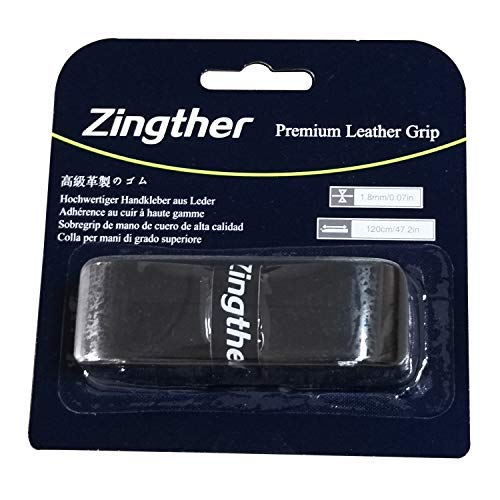 2-Pack of Zingther Premium Leather Replacement Grip Tape for Tennis Racket/Squash/Racquetball/Badminton Racquet, Pickleball, Baseball Bat, Golf - Soft, Comfortable, Ultra Cushion (Black, 2 Grips)