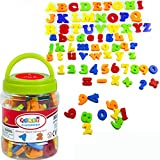 Simuer Magnetic Alphabet Magnetic Letters Numbers and Symbols Refrigerator Magnets Educational Toys and Teaching Aid for Preschool Kids with Bucket 78 PCS