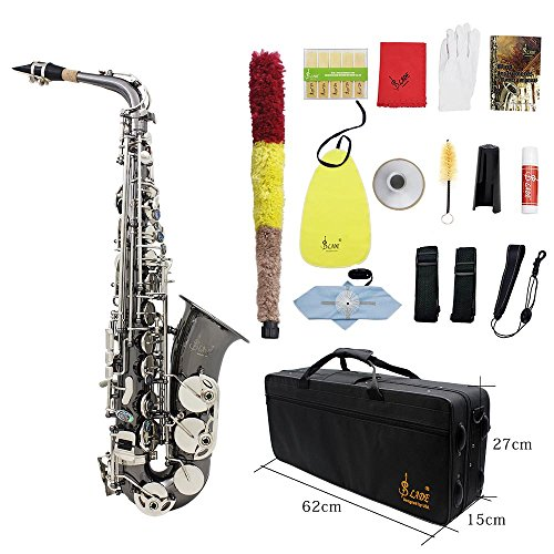 ammoon Brass Bend Eb E-flat Alto Saxophone Sax Black Nickel Plating Abalone Shell Keys Carve Pattern with Carrying Case Gloves Cleaning Cloth Straps Grease Brush by ammoon