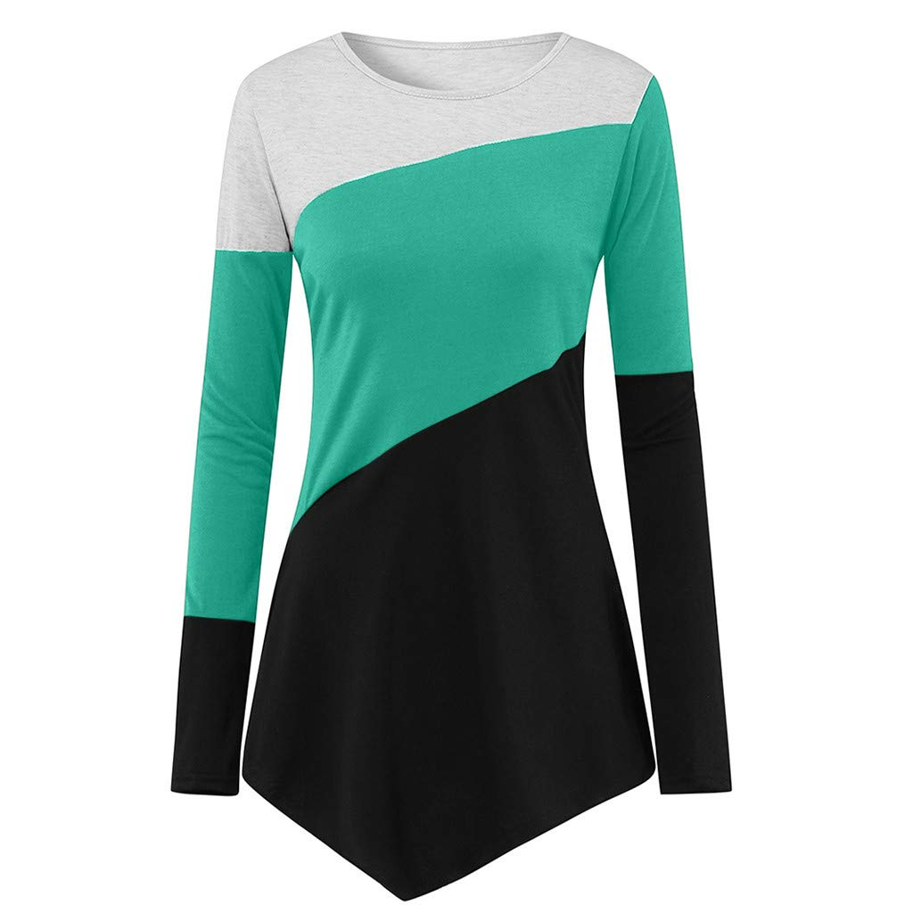 Fhci-HR Women's Loose Color Block Irregular Tunic Ladies Long Sleeve Round Neck Casual Pullover Tops Blouse T Shirt