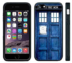 Apple iPhone 6 Black Rubber Silicone Case - Dr Who Tardis Police Call Box Phone Booth Blue