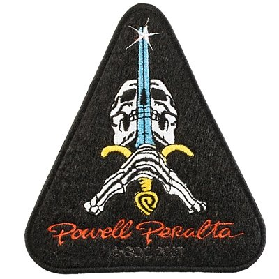 Powell Peralta Sword and Skull Skateboard Patch Black