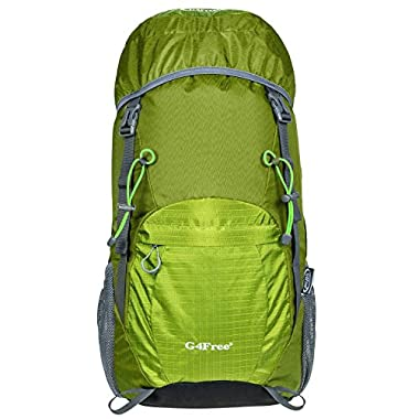 G4Free Large 40L Lightweight Water Resistant Travel Backpack/foldable & Packable Hiking Daypack(Yellow/Green)