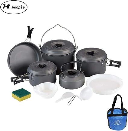 YA&NG Kit de Utensilios de Cocina portátiles para Acampar 8 ...