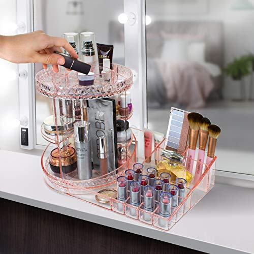 Sorbus Rotating Makeup Organizer Station Nail Bar, 360° Rotating Adjustable Carousel with Tray for Cosmetics, Skincare, etc - Great for Vanity, Bathroom, Bedroom (Adjustable Carousel Station - Pink)