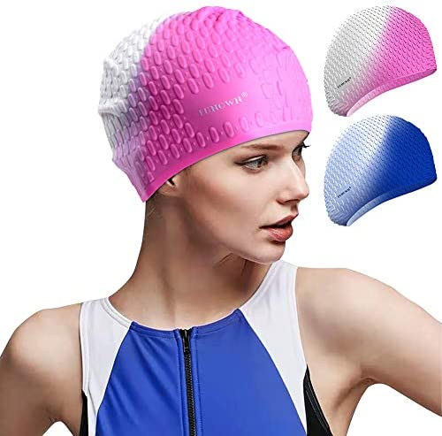 FUNOWN 2 Pack Silicone Long Hair Swim Caps Premium Comfortable Durable Silicone Swimming Caps for Women Men Adults Kids Toddlers
