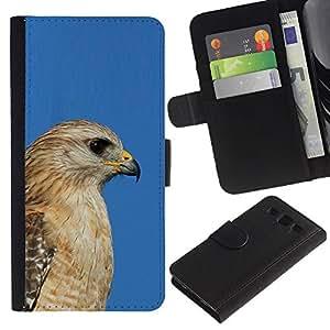 Planetar® Modelo colorido cuero carpeta tirón caso cubierta piel Holster Funda protección Samsung Galaxy S3 III i9300 i747 ( Blue Hawk Golden Brown Beak Hunter )