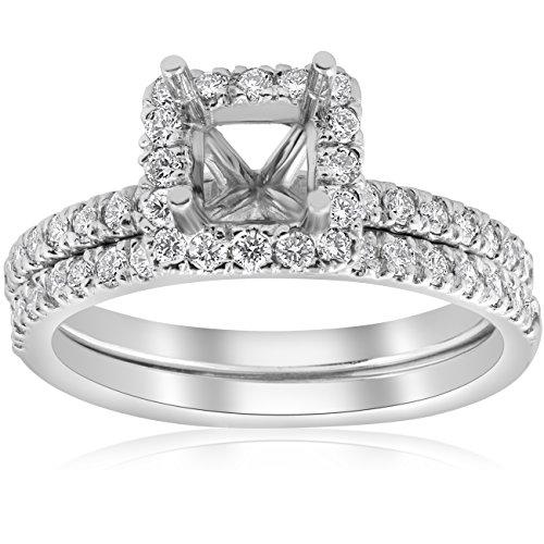 Common Prong Diamond Engagement Setting - 5/8ct Princess Cut Diamond Halo Engagement Ring Setting Matching Band White Gold