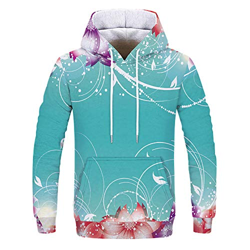Fitfulvan Clearance! Women Print Hooded Sweatshirt Pullover Tops Blouse(Light Blue,Asian XXXL = US XXL) by Fitfulvan blouse