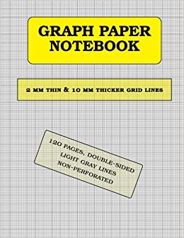 graph paper notebook 1 mm thin and 10 mm thicker light gray grid