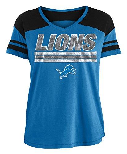 New Era Detroit Lions Women's NFL Field Goal V-Neck Short Sleeve Shirt (Nfl Goal Field)