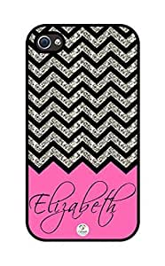 iZERCASE Personalized Pink Chevron Pattern rubber iphone 4 case (NOT GLITTERY) - Fits iphone 4 & iphone 4s