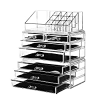 Cu AlightUp Acrylic Cosmetics Makeup and Jewelry Storage Organizer Case Display Boxes with 7 Drawers - Great for Bathroom, Dresser, Vanity, and Countertop
