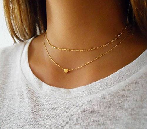 Gold Necklace Set of 2 - Heart Necklace & Choker