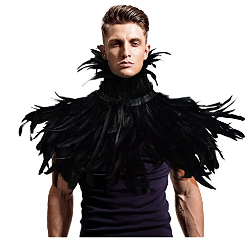 L'vow Gothic Black Feather Shrug Cape Shawl Halloween Costume for Men (Black Two) -