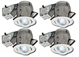 Nadair 4 PACK 4″ LED Swivel Dimmable Downlight Spotlight Recessed Light ENERGY STAR Complete Kit, 4 X LED PAR20 630 Lumens Lightbulb (50 Watts Equivalent) Included, IC & NON-IC rated, Warm White For Sale