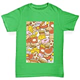 retro 11 breads - Twisted Envy Boy's Food Collage Cotton T-Shirt, Comfortable and Soft Classic Tee with Unique Design Age 9-11 Green