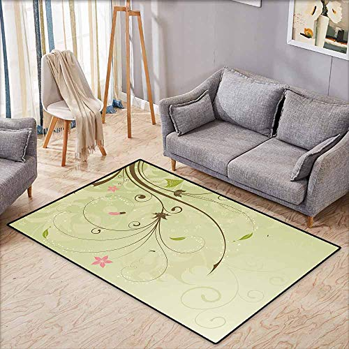 Non-Slip Rug,Green and Brown Floral Arrangement with Swirls Lines Petal Buds Abstract Bouquet,Super Absorbs Mud,3'11