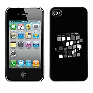 GagaDesign Phone Accessories: Hard Case Cover for Apple iPhone 4 4S - Minimalist Rubik's Cube by mcsharks