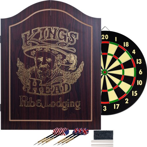 Dartboard Cabinet - King's Head Dark Wood Dartboard Cabinet Set