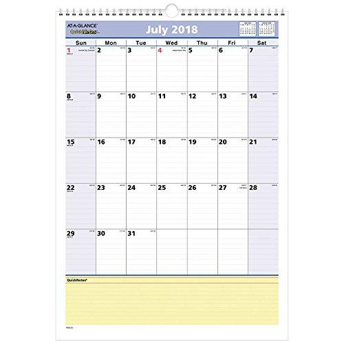 AT-A-GLANCE 2018-2019 Academic Year Wall Calendar, Medium, 12 x 17, QuickNotes, Wirebound (PM5328)