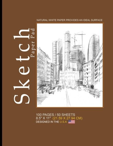 "Sketch Paper Pad: Blank Sketch Pad Notepad, 8.5"" x 11"" (21.59 x 27.94 cm), 100 pages, 50 sheets, Soft Durable Matte Cover(Brown)"