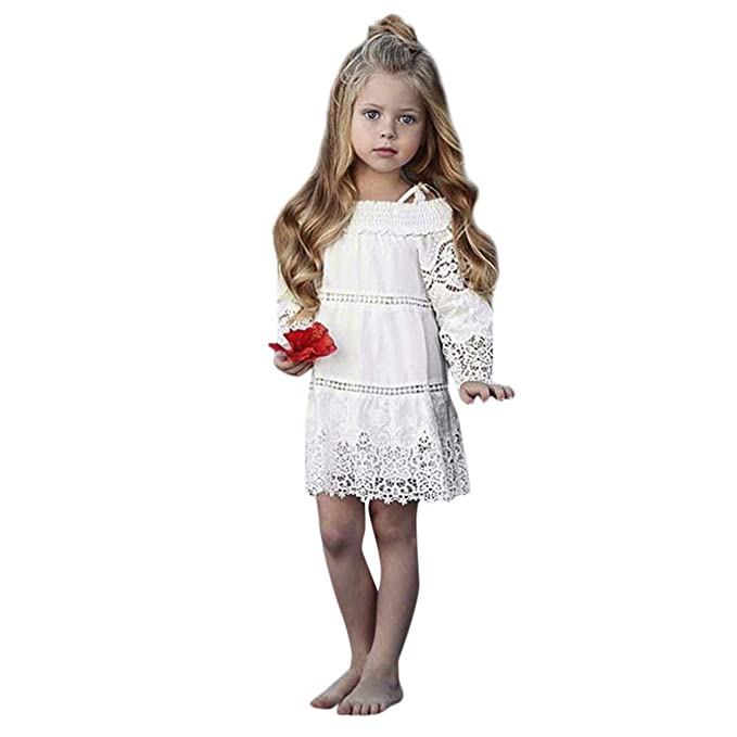 Vestidos niña, ASHOP Vestido de niñas Boda Fiesta de Princesa en Oferta Casual Correa de Encaje Floral Manga Larga Falda Moda Elegantes Primavera Verano ...