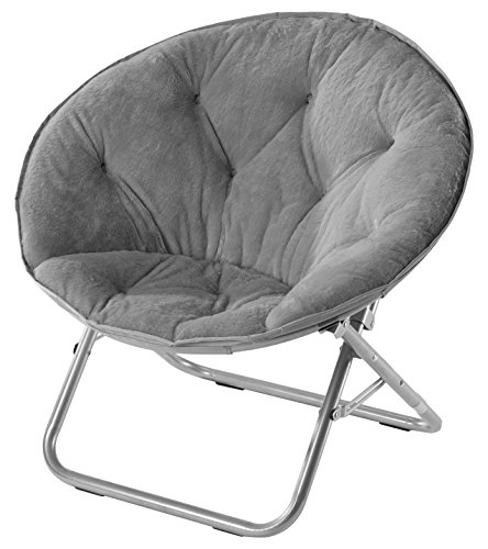 Urban Shop Faux Fur Saucer Chair, Grey (A For Ideas Bedroom Tiny)