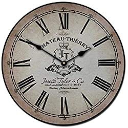 Georgia Barnard Wall Clock 12 Round Wood Clock, Chateau Thierry Parchment Wooden Decorative Round Wall Clock Design Ultra Quiet Non Ticking Whisper Quiet Battery Operated Hanging Clock