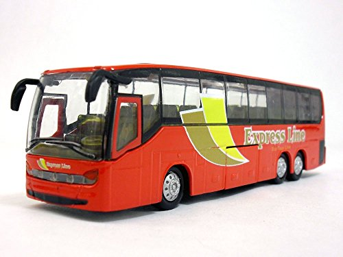 7.25 inch Long Coach Bus with Light and Sound Diecast Model - RED